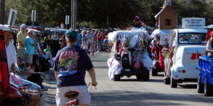 Golf Cart Parade 2013 heading down Cherry Hills Dr Sun City Center