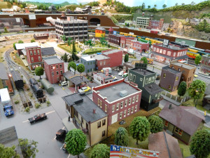 HO SIZE TOWN with 1955 decor at the Sun CIty Center Model Railroad Club