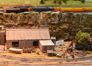 HO TRAIN running in background at Sun CIty Center Model Railroad Club