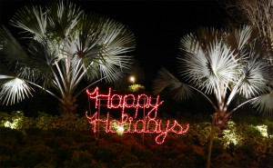 Happy Holiday lighted sign at Kings Point main gate, Sun City Center