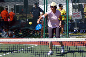Hitting ball in Womens Pickleball Tournament Tampa Bay Senior Games 2013 Sun City Center
