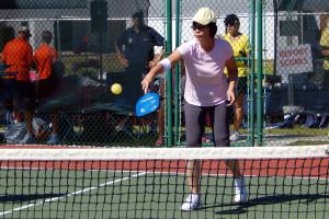 Hitting ball in Womens Pickleball Tournament Tampa Bay Senior Games 2013 Sun City Center