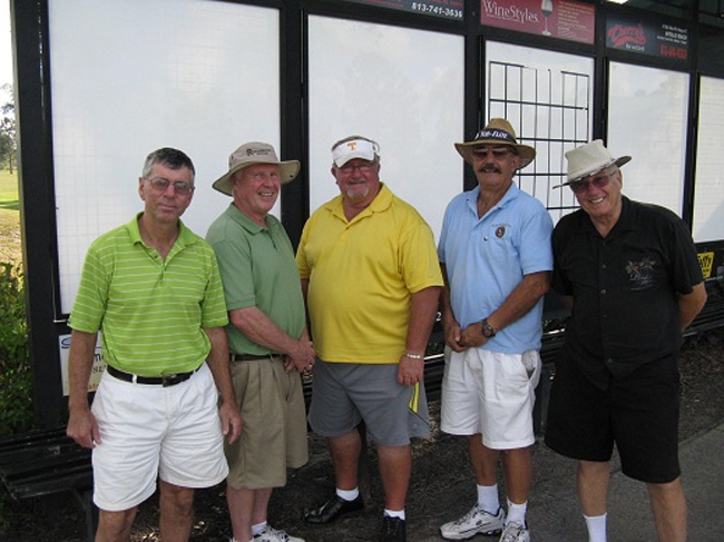 L to R: Jim Sari, Walt Weldon, Ruben Jones, John Williams, and Dick Ihrke [photo credit Pam Jones]