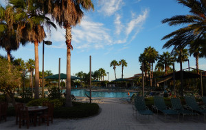 I am at the outside pool at the South Club House in the Kings Point neighborhood of Sun City Center, Florida