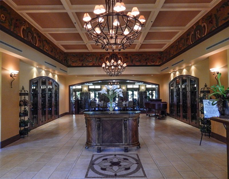 Inside lobby entrance of Club Renaissance by consierge desk in Sun City Center