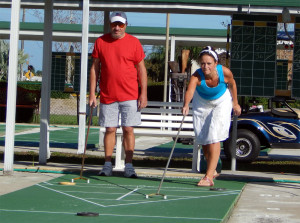 Jim Forgione in red, President of Kings Point Shuffleboard Club, Sun City Center, FL