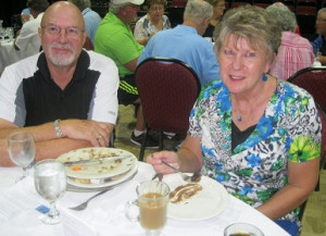 Jim Hiller and his wife at Borini Theater enjoying lunch after Bridging Freedom 2013 Golf Tournament at Falcon Watch, Kings Point, Sun City Center, FL