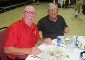 Joe DeFelice and Tom Rosata at Borini Theater enjoying lunch after Bridging Freedom 2013 Golf Tournament at Falcon Watch, Kings Point, Sun City Center, FL