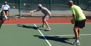 Arthur Chilvers & John Sprainiti battle to1st in Men's 70 + Doubles Pickleball Tournament at 2013 Tampa Bay Senior Games, Sun City Center, Florida [DAY ONE: Friday, October 25, 2013]
