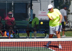 June Angelos in 70 plus Women's Doubles Pickleball Tournament in 2013 Tampa Bay Senior Games 2013, Sun City Center [DAY ONE: Friday, October 25, 2013]
