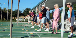 Kings Point Shuffleboard Club members playing in Kings Point, Sun City Center, FL