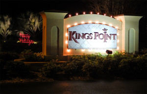 Kings Point entrance sign with Christmas lights in December 2013