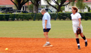 Second Base player in LADIES ONE PITCH Softball Tournament on Don Senk field, November 2 2013, Sun City Center, Florida
