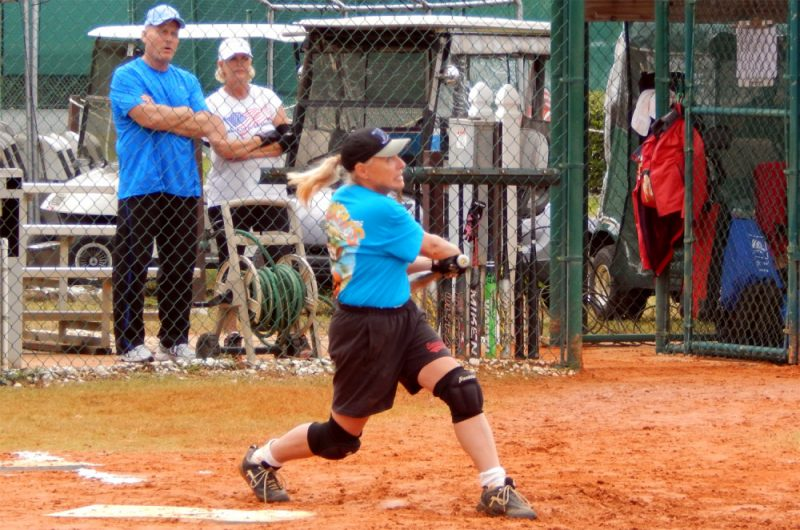 Strong hit by women in LADIES ONE PITCH Softball Tournament on Don Senk field, November 2 2013, Sun City Center, Florida