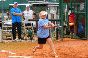 Vintage Babes player hits ball in LADIES ONE PITCH Softball Tournament on Don Senk field, November 2 2013, Sun City Center, Florida 16