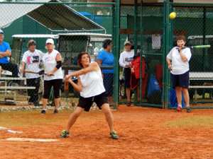 Getting ready to hit ball LADIES ONE PITCH Softball Tournament on Don Senk field, November 2 2013, Sun City Center, Florida 33