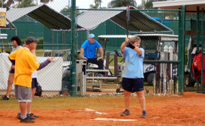 Batter up in LADIES ONE PITCH Softball Tournament on Don Senk field, November 2 2013, Sun City Center, Florida