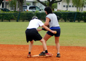Having fun at second base in LADIES ONE PITCH Softball Tournament on Don Senk field, November 2 2013, Sun City Center, Florida 34-5