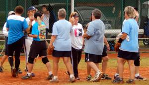 Tighty Whites and the Out Of The Blue Team tie in the LADIES ONE PITCH 2013 Softball Tournament on November 2, on Don Senk Field in Sun City Center