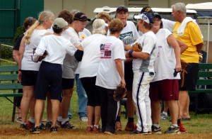 Tighty Whites and the Out Of The Blue Team congratulating each other after tied game in the LADIES ONE PITCH 2013 Softball Tournament on November 2, on Don Senk Field in Sun City Center