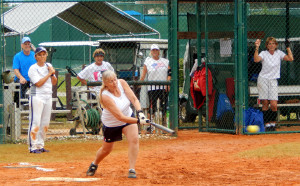 batter hitting ball in LADIES ONE PITCH Softball Tournament on Don Senk field, November 2 2013, Sun City Center, Florida 7
