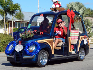 LIDO Golf Cart decorated for Christmas in Sun City Center Holiday Golf Cart Parade 2013