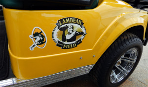 Lambeau Field image on Green Bay Packers STARev 48V-SS Limited customized golf cart in Sun City Center FL
