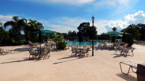 Main Club House pool in gated 55 plus community of Kings Point, Sun City Center, Florida