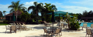 Main Clubhouse pool in gated 55 plus community of Kings Point, Sun City Center, Florida