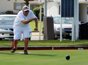 Man Lawn Bowler by Eberhardt Building on North Pebble Beach Blvd in Sun City Center, FL