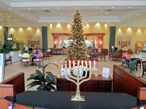 Menorah and Christmas Tree at Kings Point Clubhouse, Sun City Center Florida