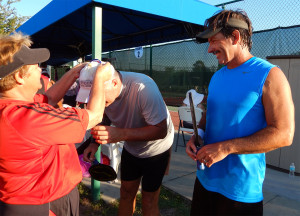 Mike Pascal and Bob Zinsmaste receiving Golf Medal for Mens 50 + Doubles Pickleball Tournament Tampa Bay Senior Games 2013, Sun City Center, FL