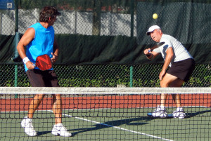 Mike Pascal pulls off great return in Men's Doubles Pickleball Tournament 50+ Tampa Bay Senior Games 2013, Sun City Center, FL [DAY TWO: Saturday, October 26, 2013]