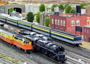 Muiltiple trains running together at Sun CIty Center Model Railroad Club, Sun City Center, FL