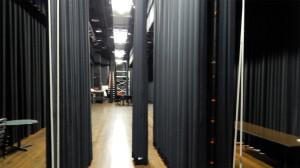 Multiple curtains on Borini Theater stage, Sun City Center, FL