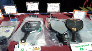 PADDLES Champion Graphite, Attack Graphite, Venom on sale at Pickleball Tournament Tampa Bay Senior Games 2013, Sun City Center