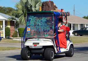 PALM TREES on window of golf cart in 2013 Golf Cart Parade Sun City Center