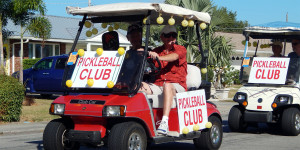 PICKLEBALL golf cart in Sun City Center Holiday Golf Cart Parade 2013 1