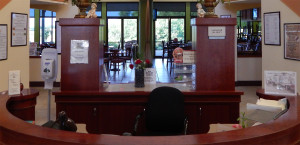 Past the desk you can see Palm Court Cafe where thy hold specials during the week in Kings Point, Sun City Center, Florida