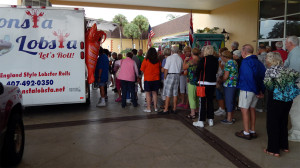 People in line at Food Truck Rally in Kings Point, Sun City Center