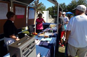 Pickleball Specialties main tent at Pickleball Tournament Tampa Bay Senior Games 2013, Sun City Center