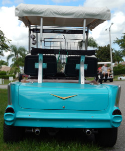 Rear view of Blue 57 Chevy Belair Customized Golf Cart parked at the Communtiy Hall in Sun City Center Fl