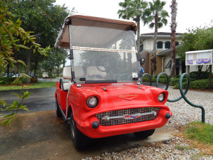 Red 57 Chevy Belair customized golf cart in Sun City Center FL
