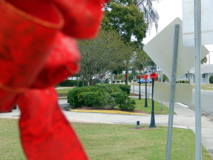 Red bows on Lamp posts on Cherry Hills Dr at Christmas in Sun City Center, Florida