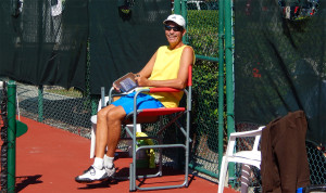 Ref keeping score in Womens Pickleball Tournament Tampa Bay Senior Games 2013 Sun City Center