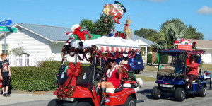 Reindeer on roof of golf cart at Sun City Center Golf Cart Parade 2013
