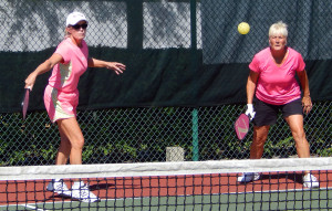 Retuns ball in Womens Pickleball Tournament Tampa Bay Senior Games 2013 Sun City Center