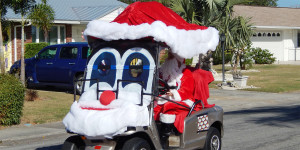 SANTA CLAUSE customized golf cart in Sun City Center Holiday Golf Cart Parade 2013