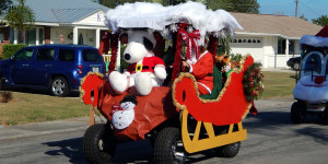 SANTA SLEIGH customized golf cart in Sun City Center Holiday Golf Cart Parade 2013