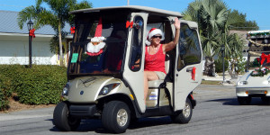 SANTA on window of golf cart in Sun City Center Holiday Golf Cart Parade 2013